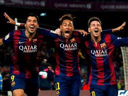 Trio SMN Barcelona saat selebrasi gol
