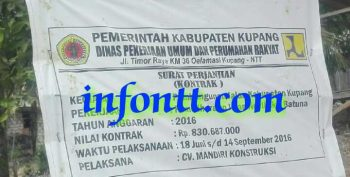 Papan proyek di Dusun Dendeng, Desa Noelbaki, Kabupaten Kupang