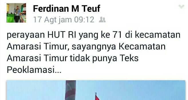 Status facebook anggota DPRD Kabupaten Kupang, Ferdinan Teuf